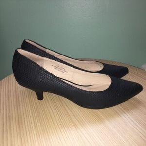 Cato Black Kitten Heel Pumps